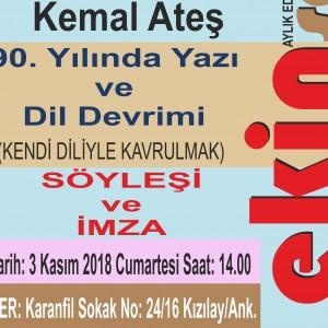 Yazar Kemal Ateş Dil Devrimi Üzerine Konuşacak